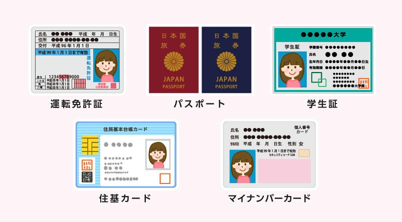 運転免許証、パスポート、学生証、住民基本台帳カード、マイナンバー